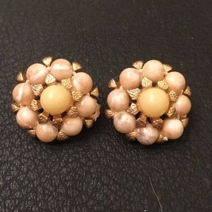 Vintage Antique Celluloid Bead Cluster Clip Ons